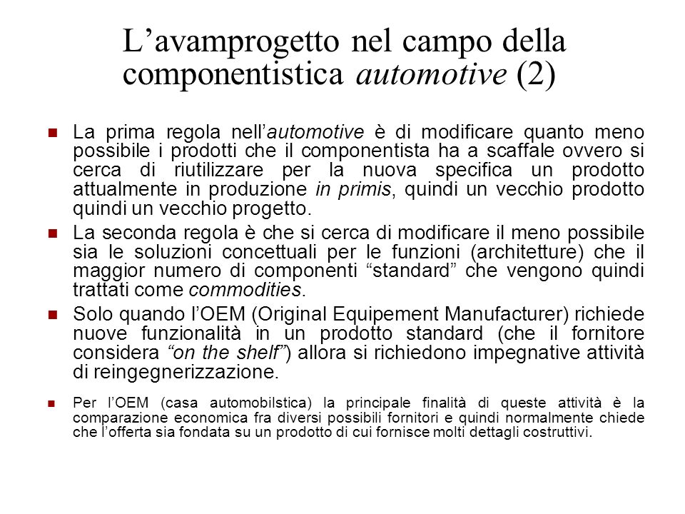 L'avamprogetto nel campo della componentistica automotive (2)