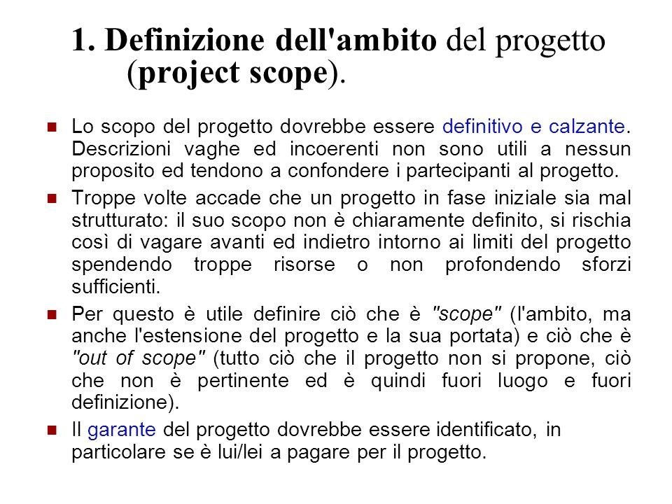 1. Definizione dell ambito del progetto (project scope).