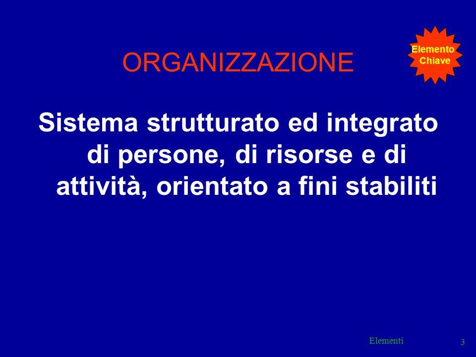 Elemento Chiave. ORGANIZZAZIONE. Sistema strutturato ed integrato di persone, di risorse e di attività, orientato a fini stabiliti.