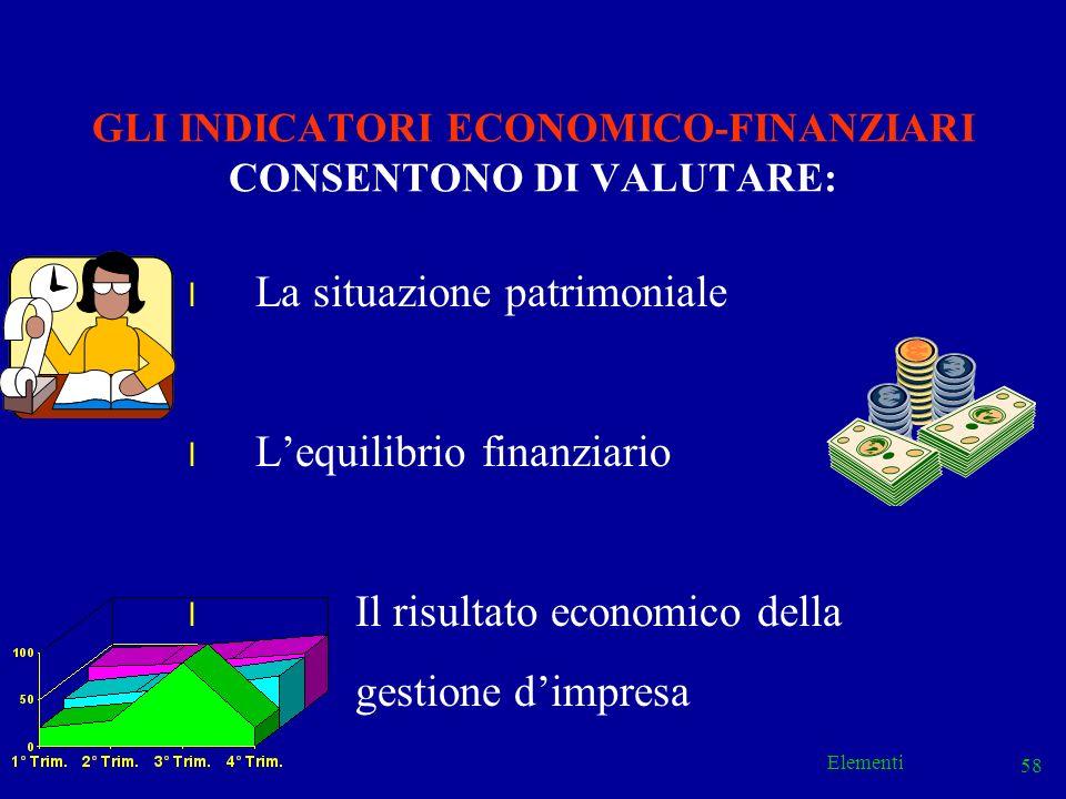 GLI INDICATORI ECONOMICO-FINANZIARI CONSENTONO DI VALUTARE:
