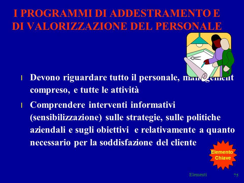 I PROGRAMMI DI ADDESTRAMENTO E DI VALORIZZAZIONE DEL PERSONALE