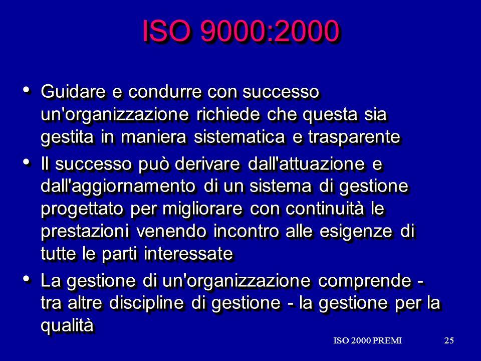 ISO 9000:2000 Guidare e condurre con successo un organizzazione richiede che questa sia gestita in maniera sistematica e trasparente.