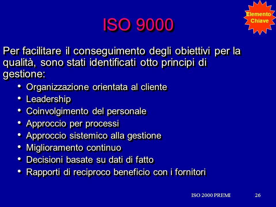 Elemento Chiave. ISO 9000. Per facilitare il conseguimento degli obiettivi per la qualità, sono stati identificati otto principi di gestione: