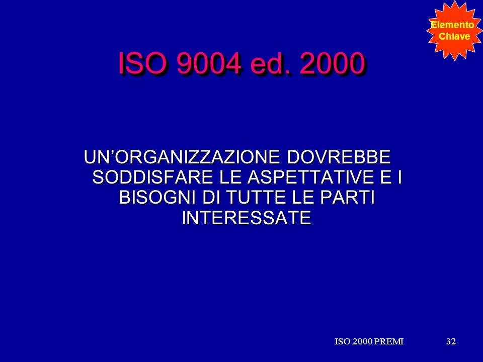 Elemento Chiave. ISO 9004 ed. 2000. UN'ORGANIZZAZIONE DOVREBBE SODDISFARE LE ASPETTATIVE E I BISOGNI DI TUTTE LE PARTI INTERESSATE.