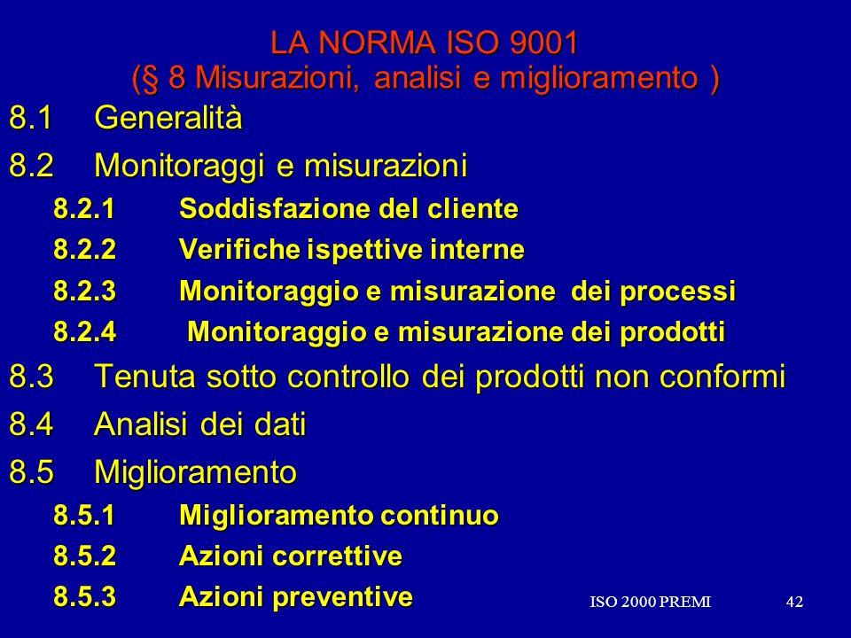 LA NORMA ISO 9001 (§ 8 Misurazioni, analisi e miglioramento )