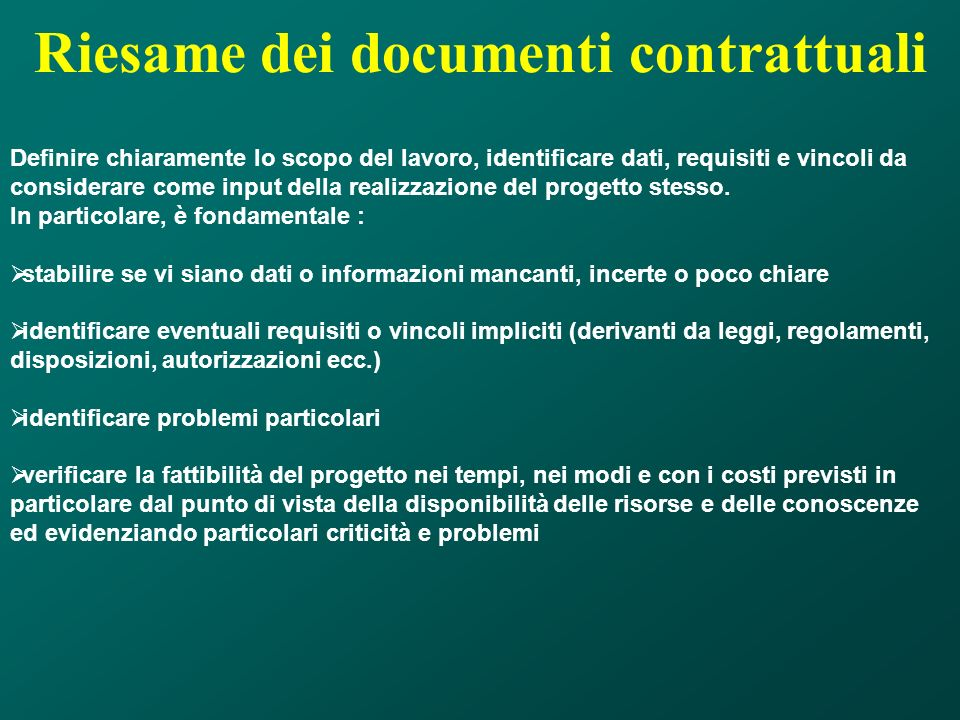 Riesame dei documenti contrattuali