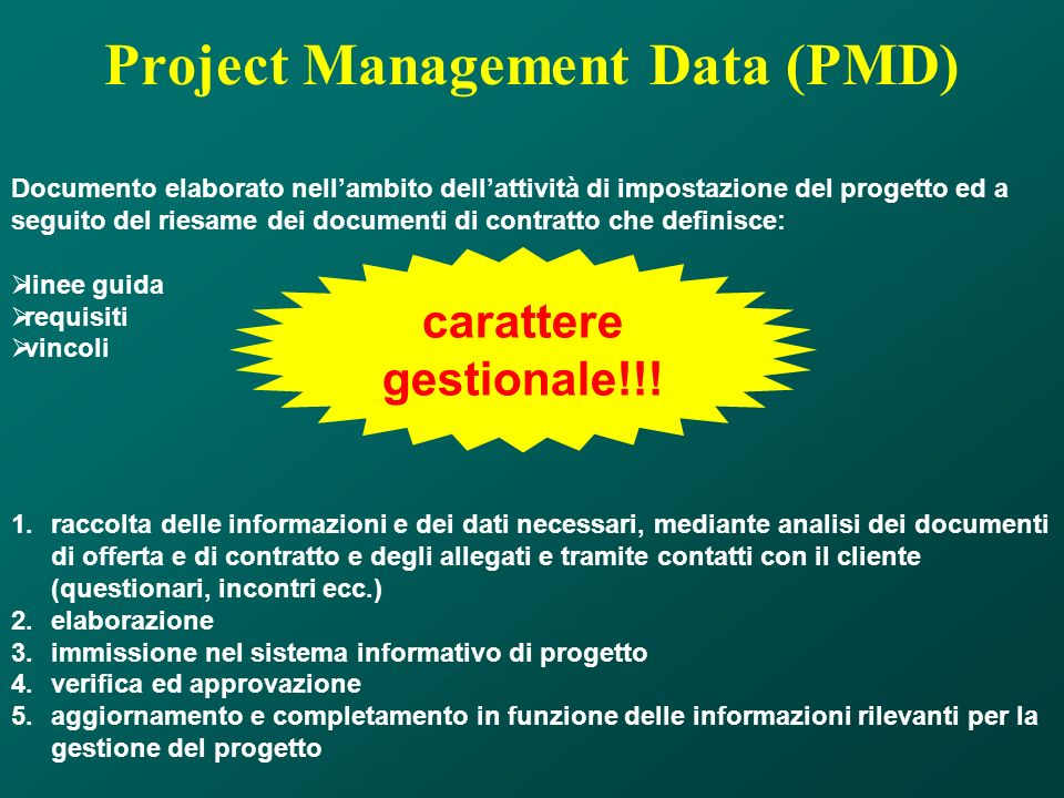 Project Management Data (PMD)