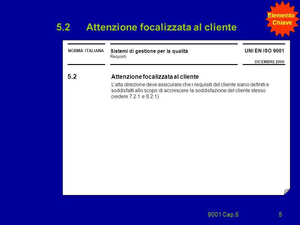 5.2 Attenzione focalizzata al cliente