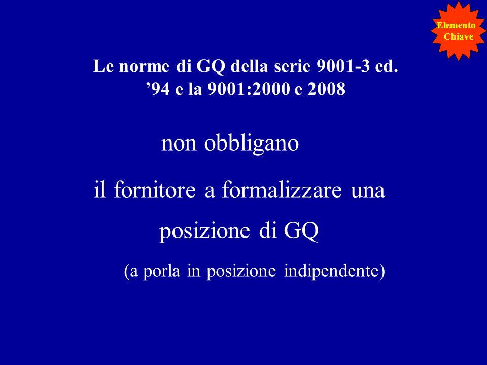 Le norme di GQ della serie 9001-3 ed. '94 e la 9001:2000 e 2008