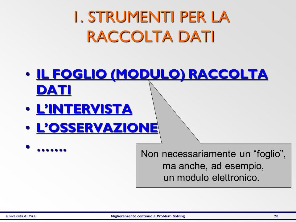 1. STRUMENTI PER LA RACCOLTA DATI