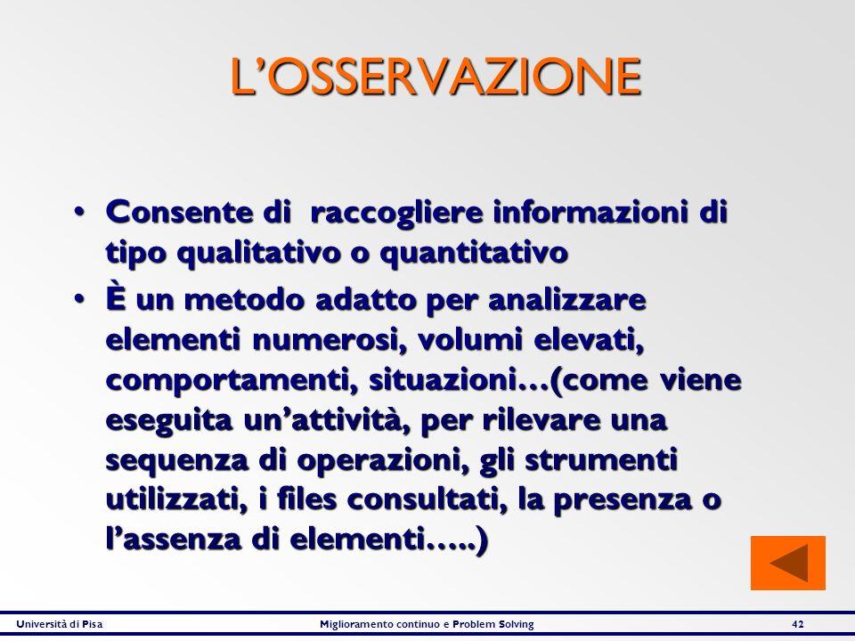 L'OSSERVAZIONE Consente di raccogliere informazioni di tipo qualitativo o quantitativo.