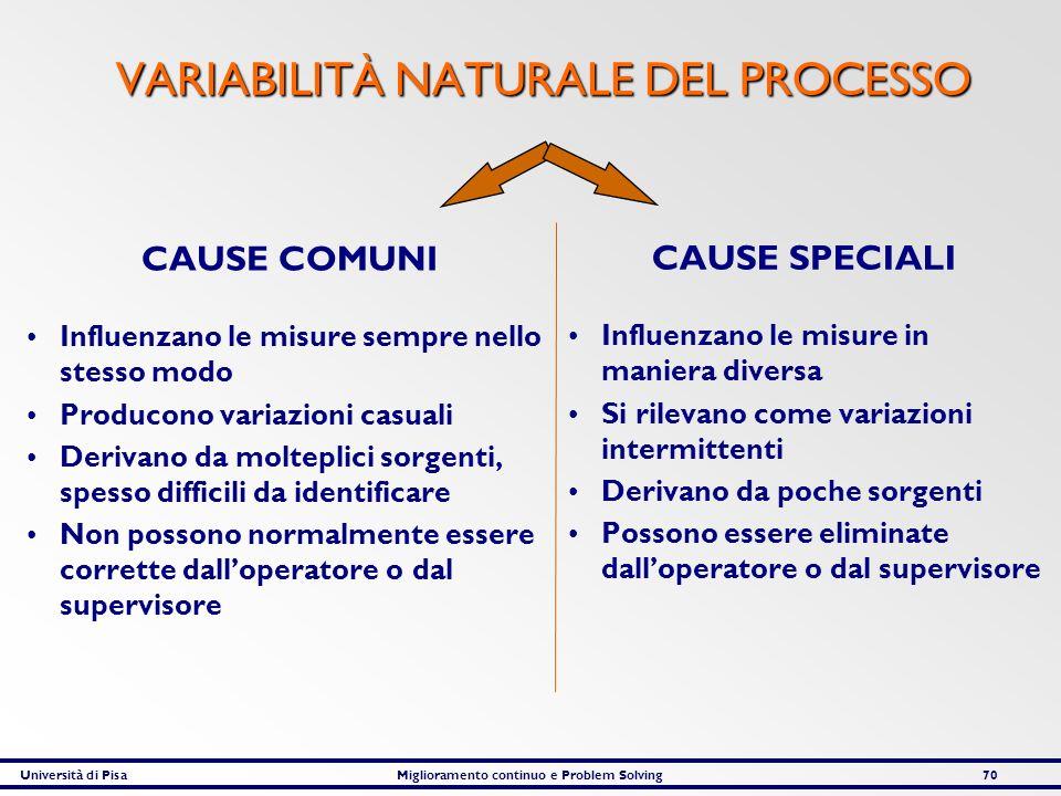 VARIABILITÀ NATURALE DEL PROCESSO