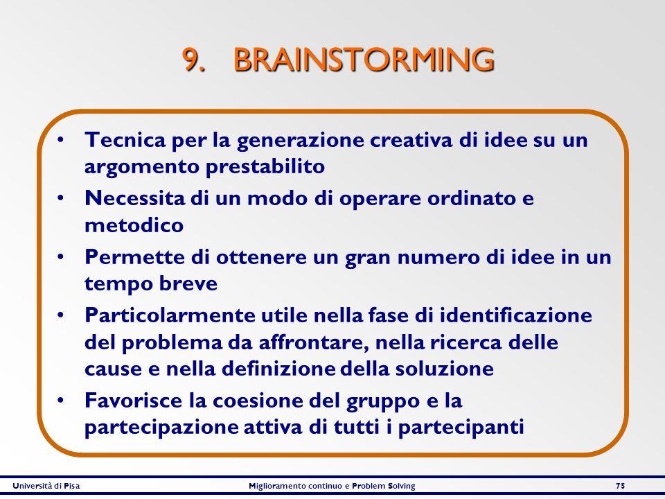 9. BRAINSTORMING Tecnica per la generazione creativa di idee su un argomento prestabilito. Necessita di un modo di operare ordinato e metodico.