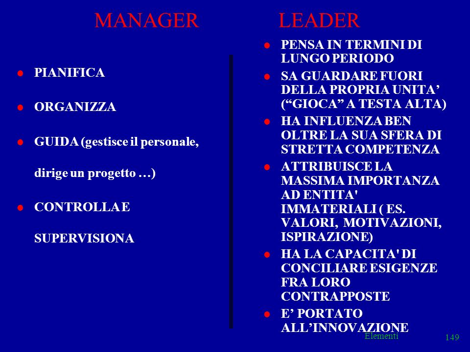 MANAGER LEADER PENSA IN TERMINI DI LUNGO PERIODO