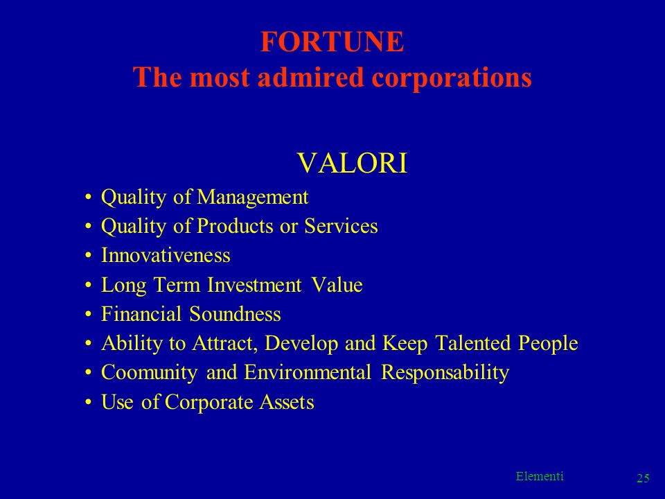FORTUNE The most admired corporations