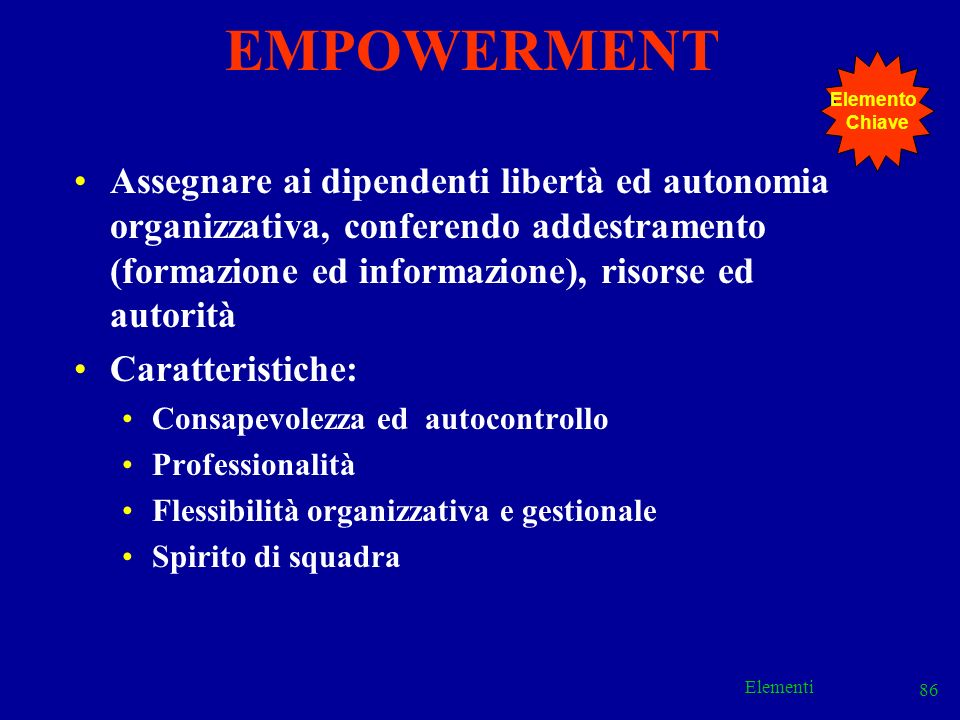 EMPOWERMENT Elemento. Chiave.