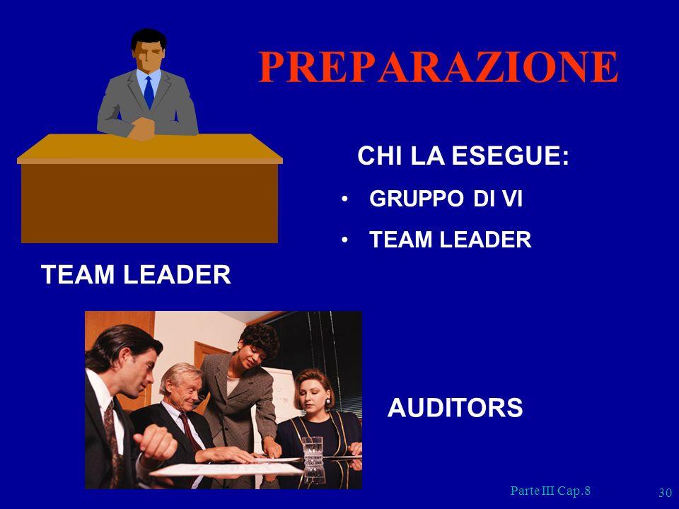 PREPARAZIONE CHI LA ESEGUE: TEAM LEADER AUDITORS GRUPPO DI VI