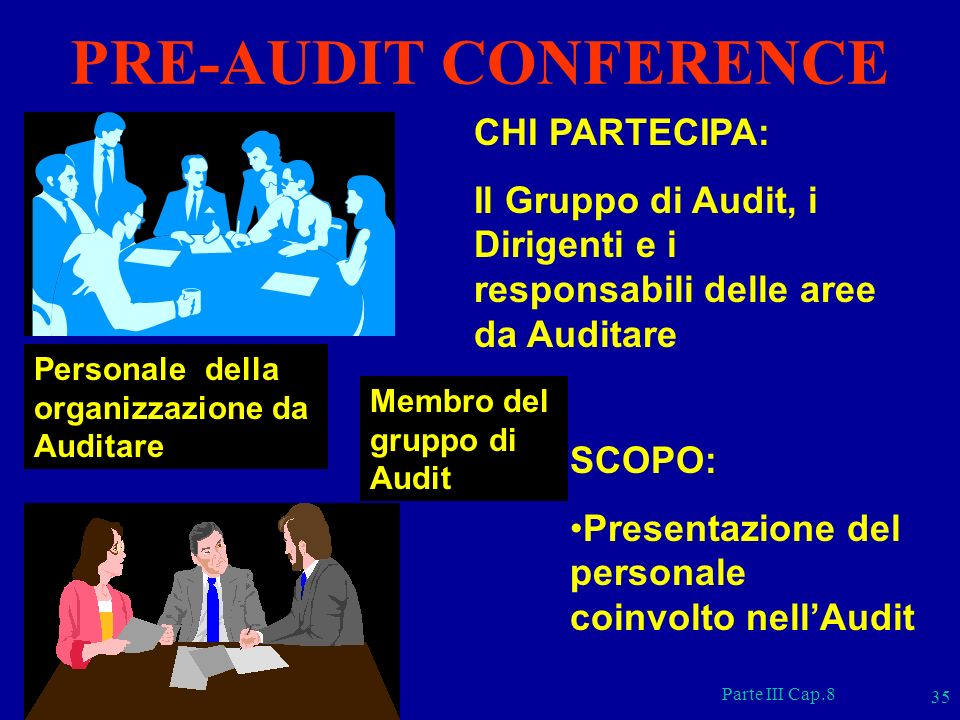 PRE-AUDIT CONFERENCE CHI PARTECIPA: