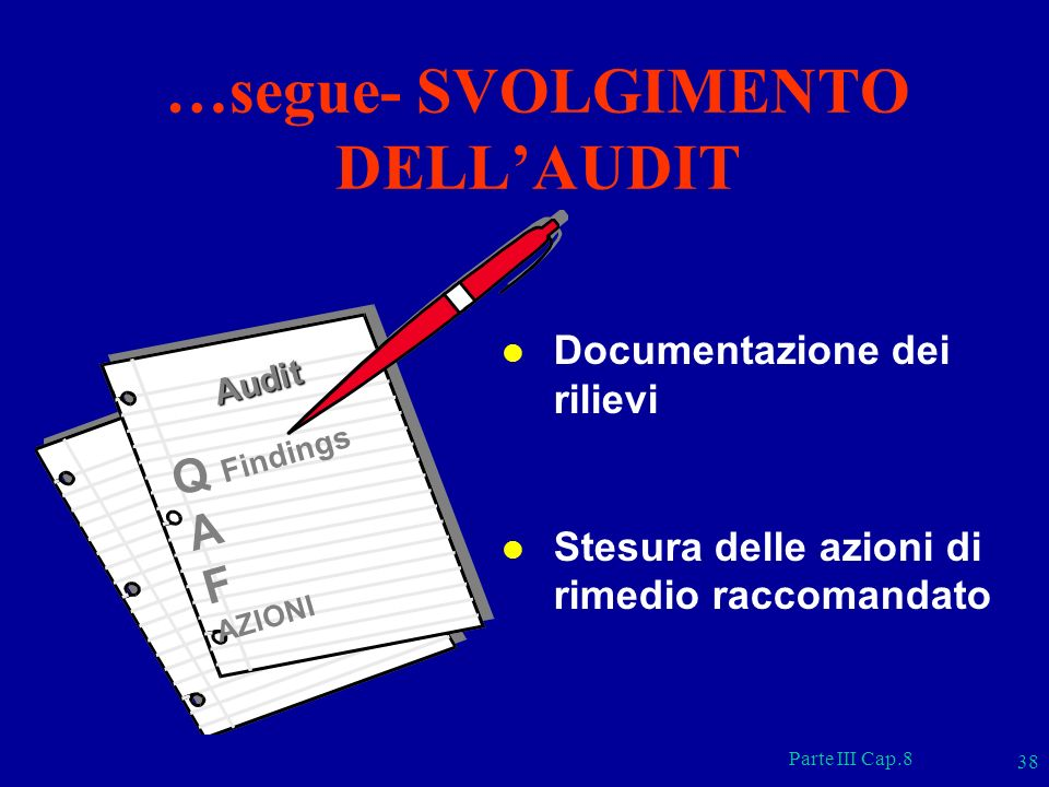 …segue- SVOLGIMENTO DELL'AUDIT