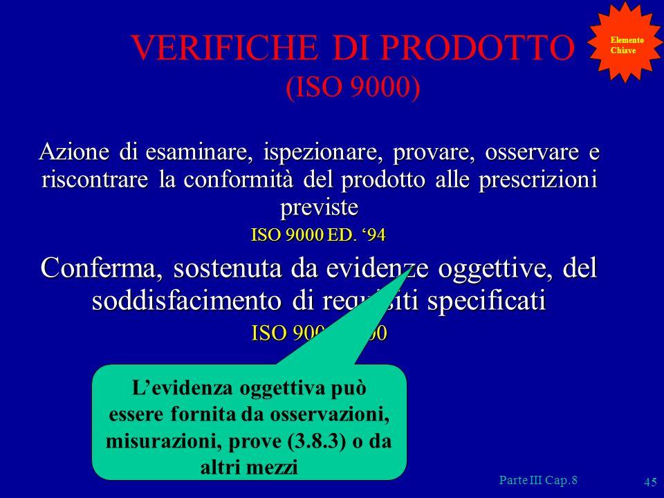 VERIFICHE DI PRODOTTO (ISO 9000)