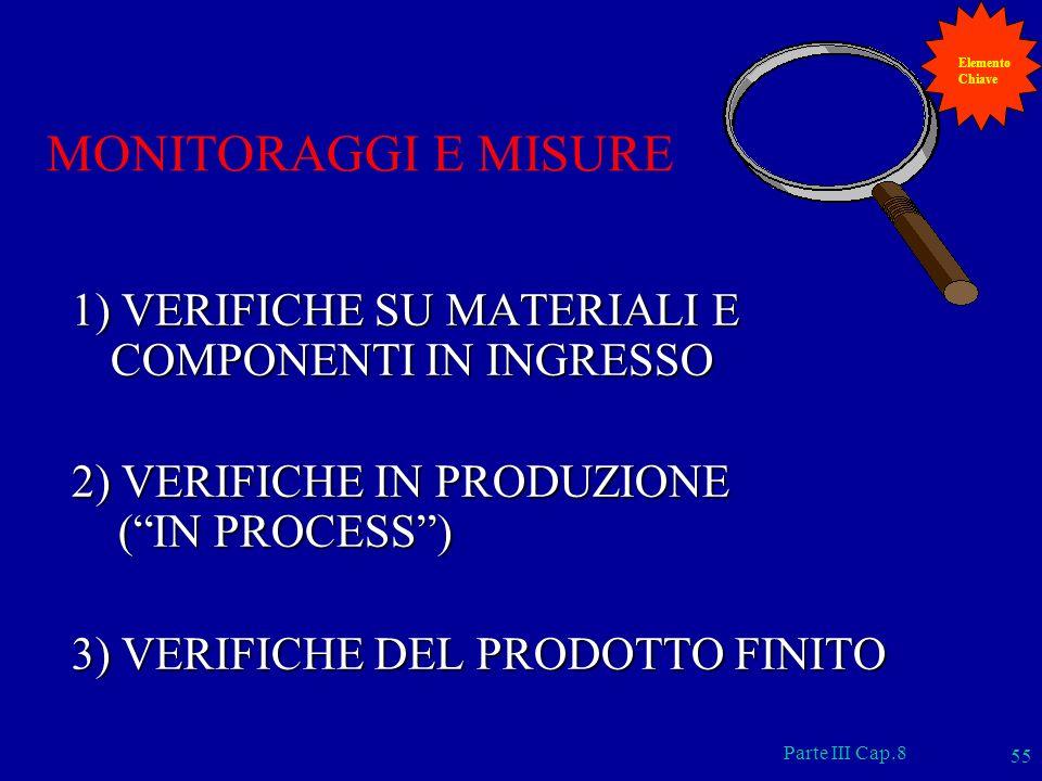 Elemento Chiave. MONITORAGGI E MISURE. 1) VERIFICHE SU MATERIALI E COMPONENTI IN INGRESSO. 2) VERIFICHE IN PRODUZIONE.