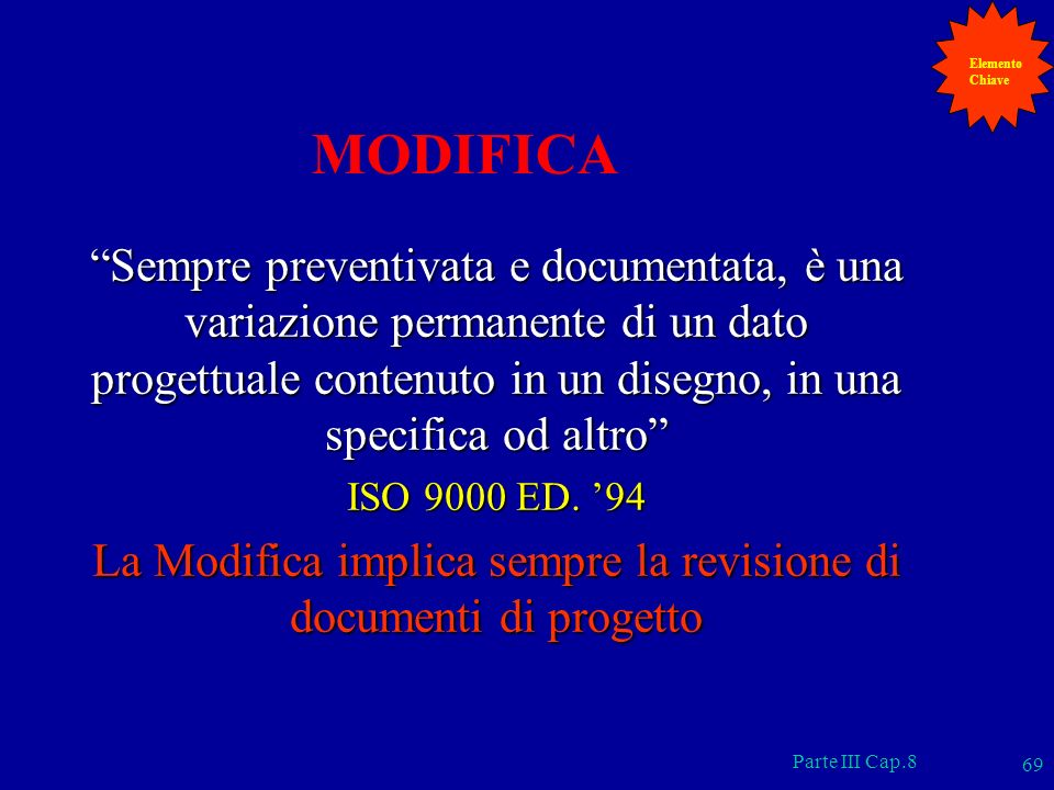 La Modifica implica sempre la revisione di documenti di progetto