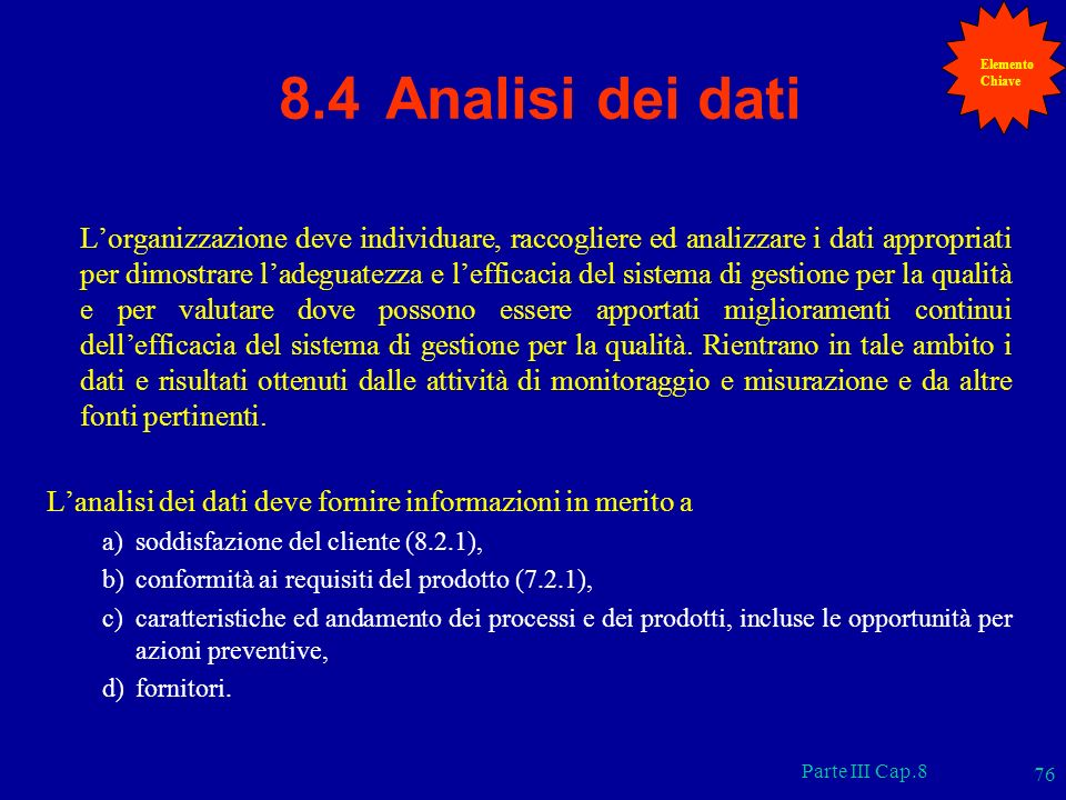 Elemento Chiave. 8.4 Analisi dei dati.