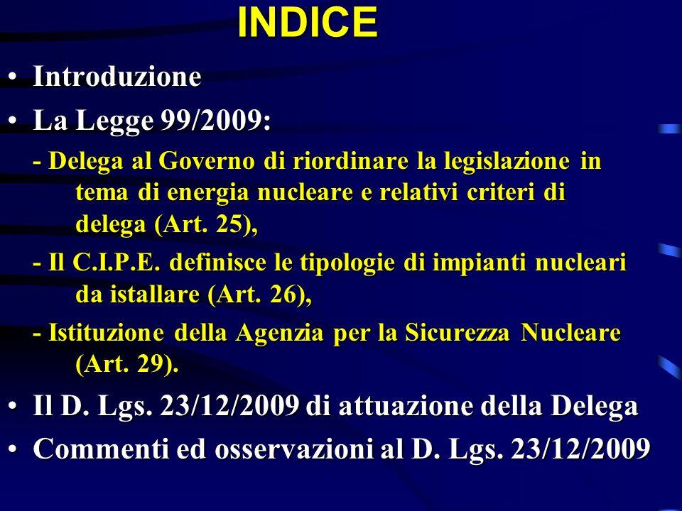 INDICE Introduzione La Legge 99/2009:
