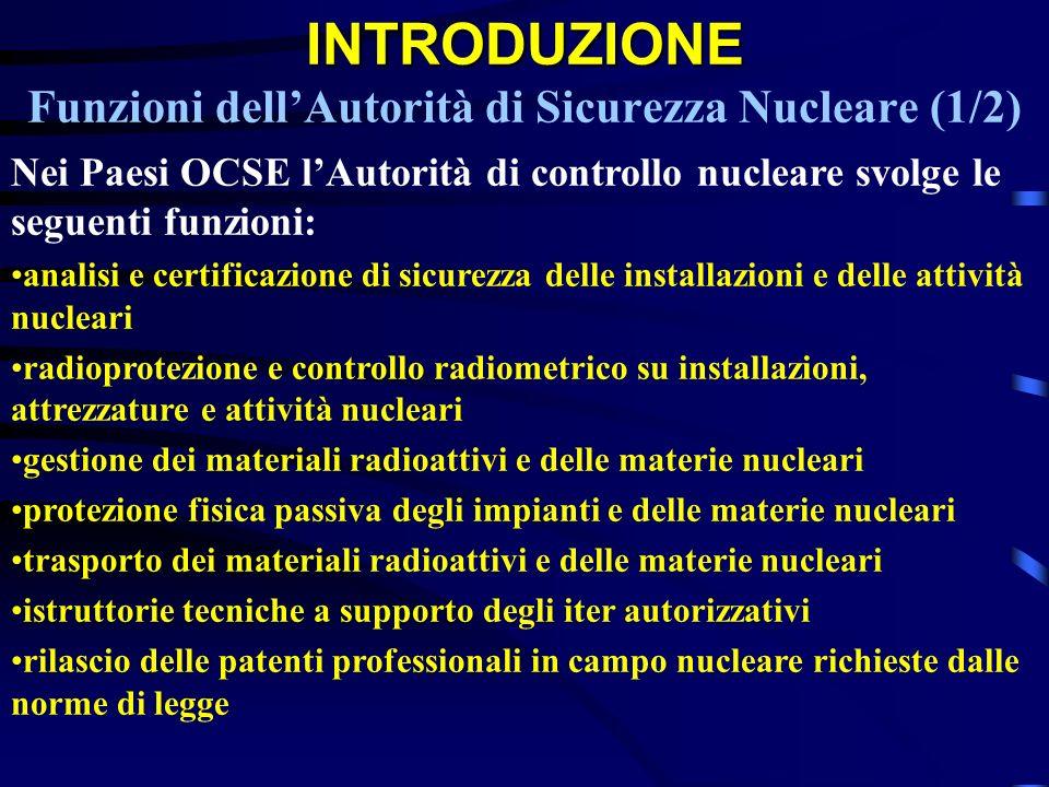 INTRODUZIONE Funzioni dell'Autorità di Sicurezza Nucleare (1/2)