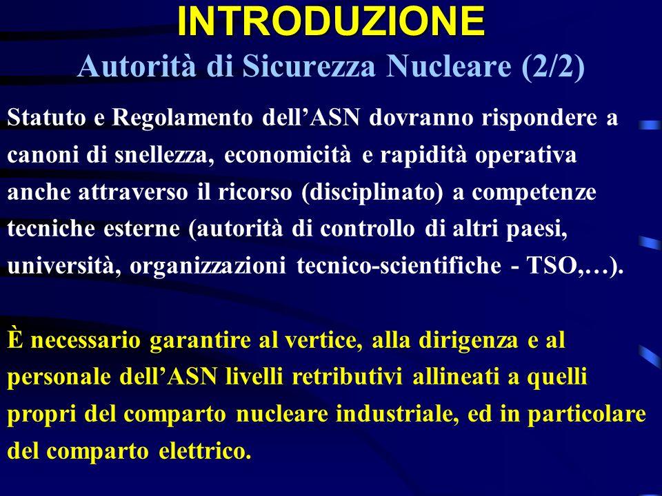 INTRODUZIONE Autorità di Sicurezza Nucleare (2/2)