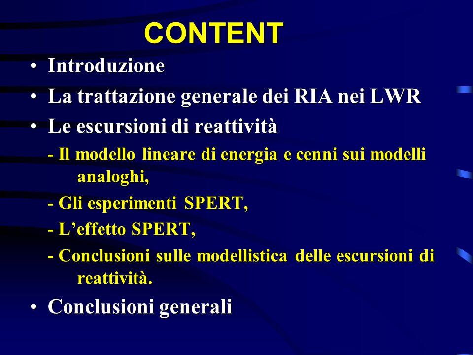 CONTENT Introduzione La trattazione generale dei RIA nei LWR