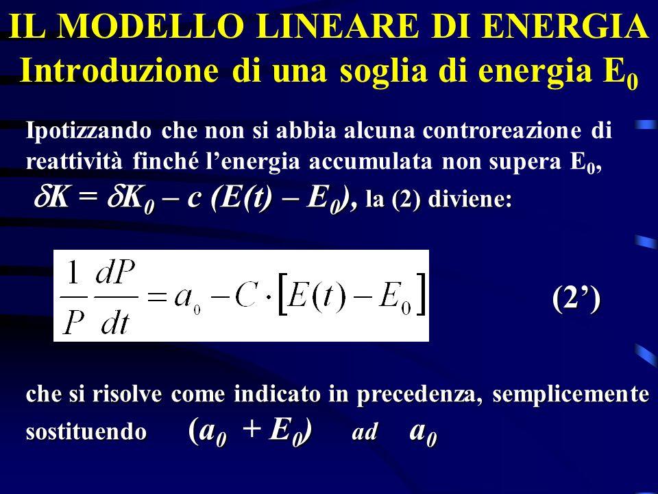IL MODELLO LINEARE DI ENERGIA Introduzione di una soglia di energia E0