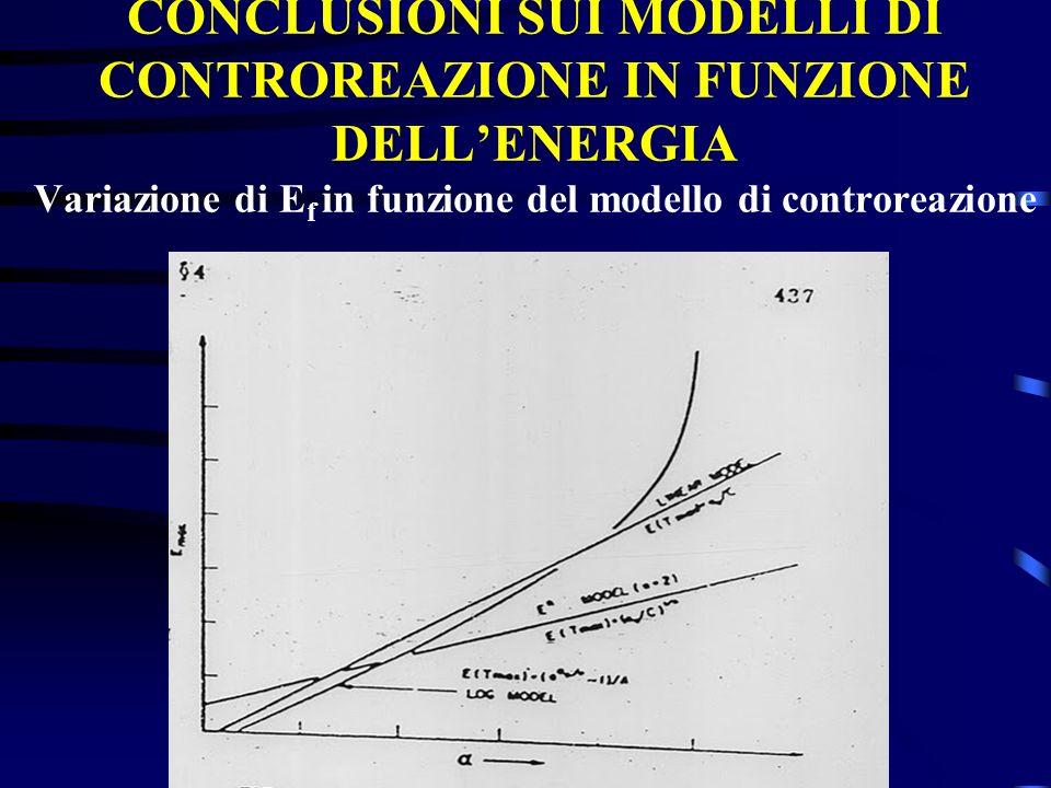 CONCLUSIONI SUI MODELLI DI CONTROREAZIONE IN FUNZIONE DELL'ENERGIA Variazione di Ef in funzione del modello di controreazione