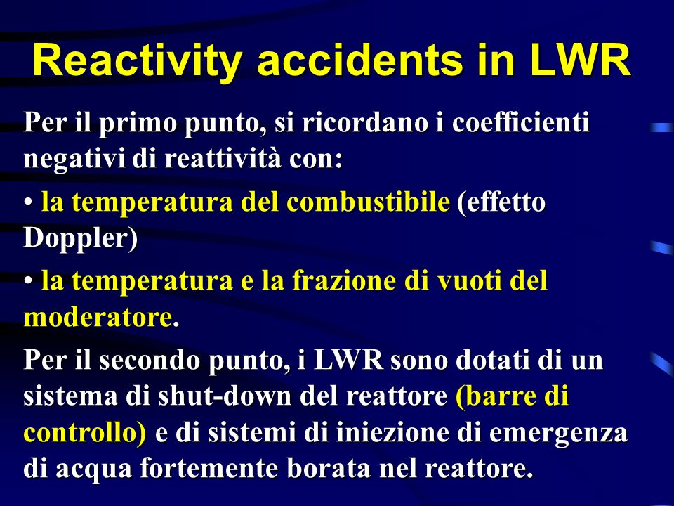 Reactivity accidents in LWR
