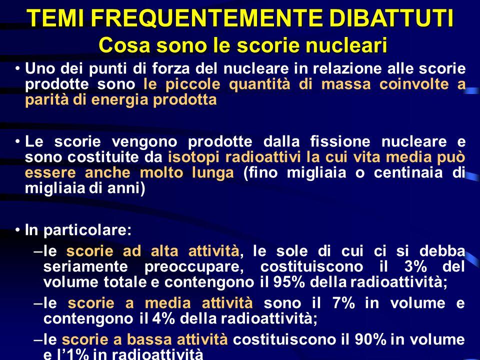 TEMI FREQUENTEMENTE DIBATTUTI Cosa sono le scorie nucleari
