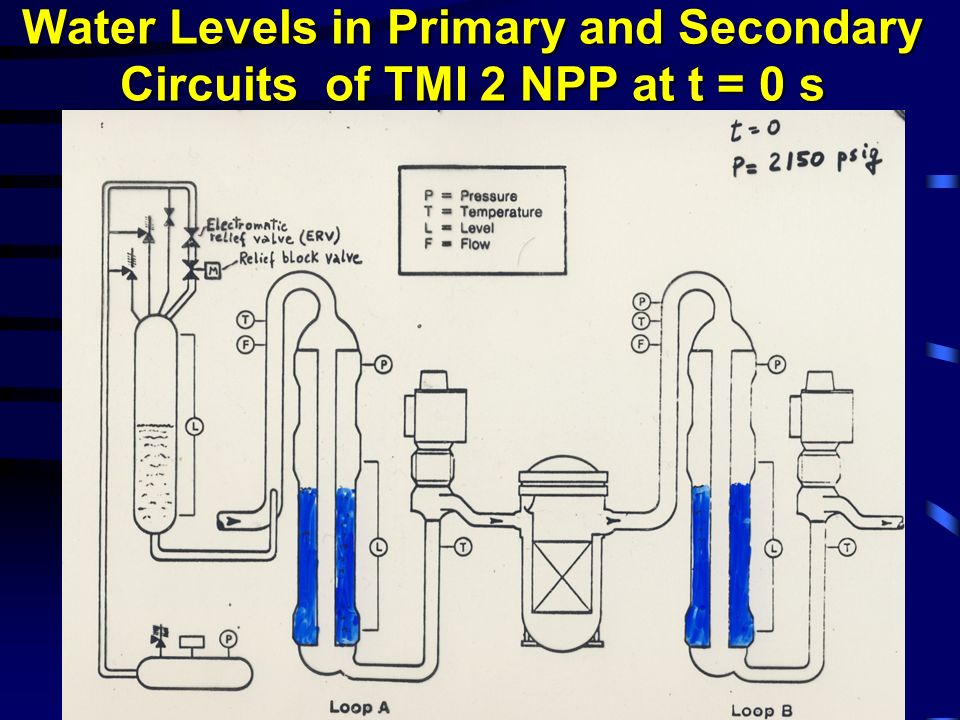 Water Levels in Primary and Secondary Circuits of TMI 2 NPP at t = 0 s