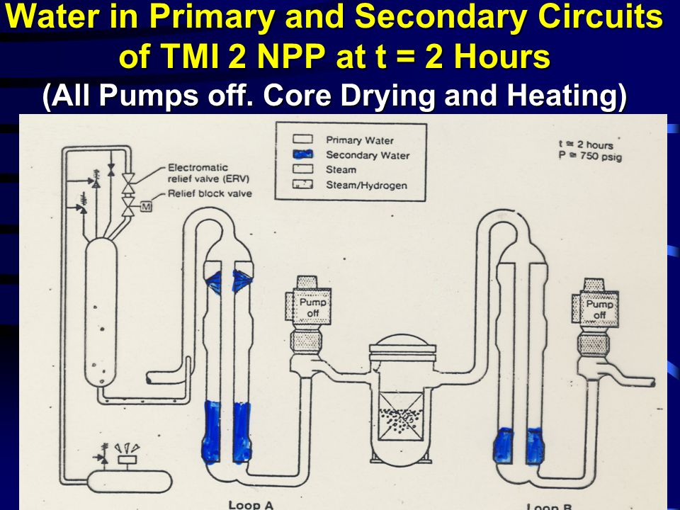 Water in Primary and Secondary Circuits of TMI 2 NPP at t = 2 Hours (All Pumps off.