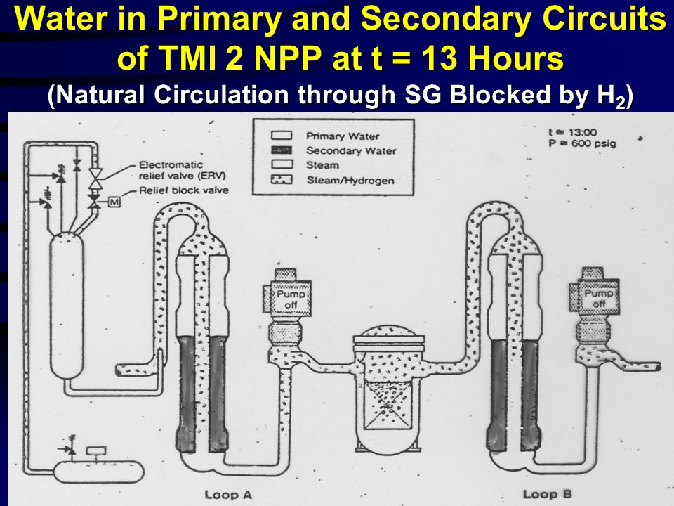 Water in Primary and Secondary Circuits of TMI 2 NPP at t = 13 Hours (Natural Circulation through SG Blocked by H2)
