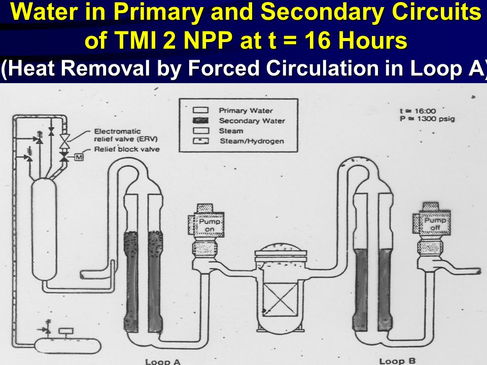Water in Primary and Secondary Circuits of TMI 2 NPP at t = 16 Hours (Heat Removal by Forced Circulation in Loop A)