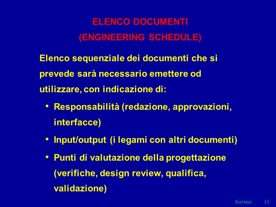ELENCO DOCUMENTI (ENGINEERING SCHEDULE)