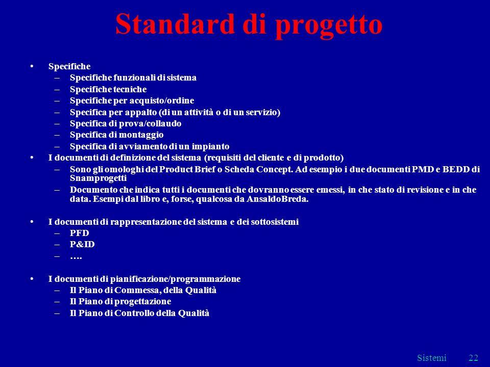 Standard di progetto Specifiche Specifiche funzionali di sistema