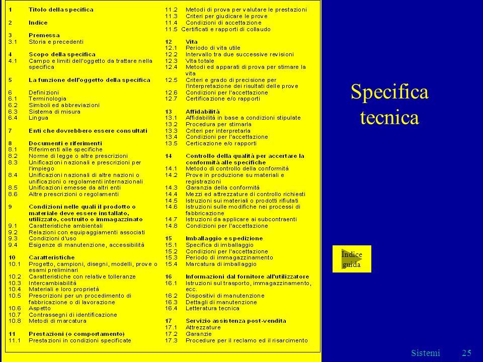 Specifica tecnica Indice guida Sistemi