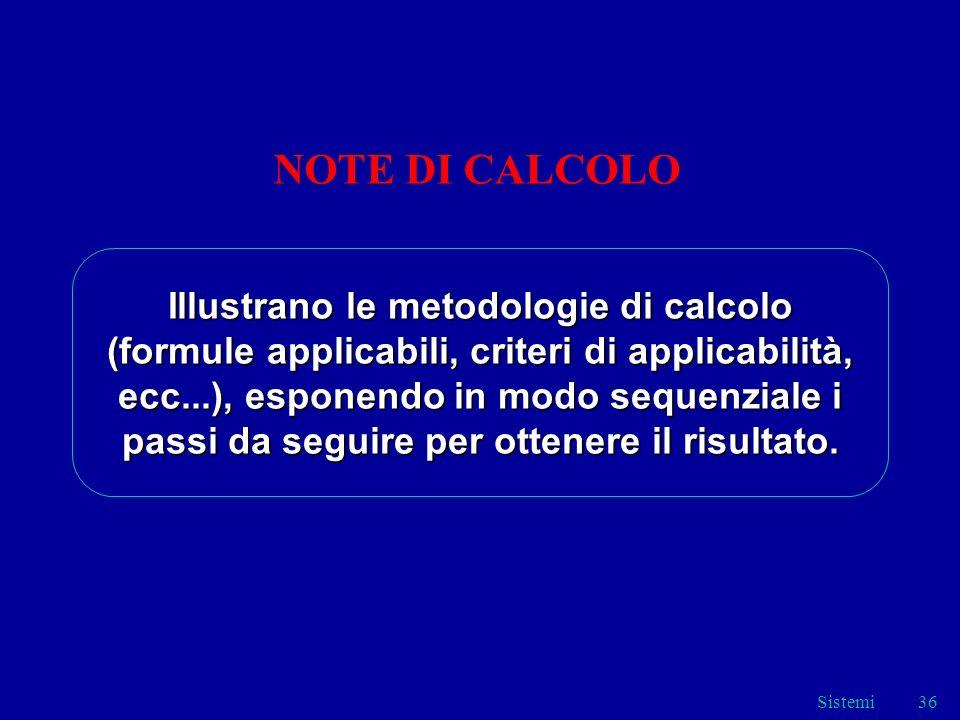 NOTE DI CALCOLO