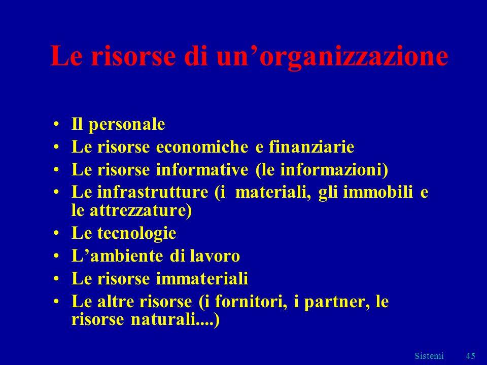 Le risorse di un'organizzazione