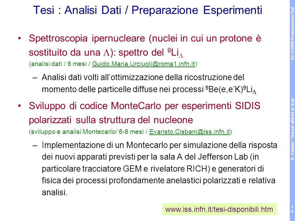 Tesi : Analisi Dati / Preparazione Esperimenti