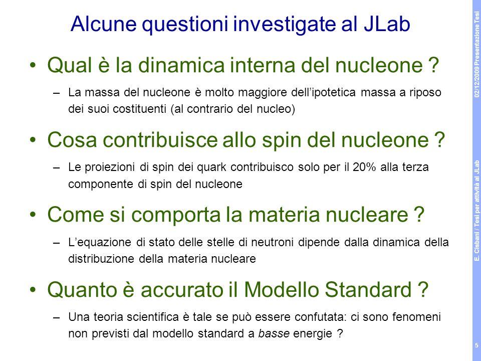 Alcune questioni investigate al JLab