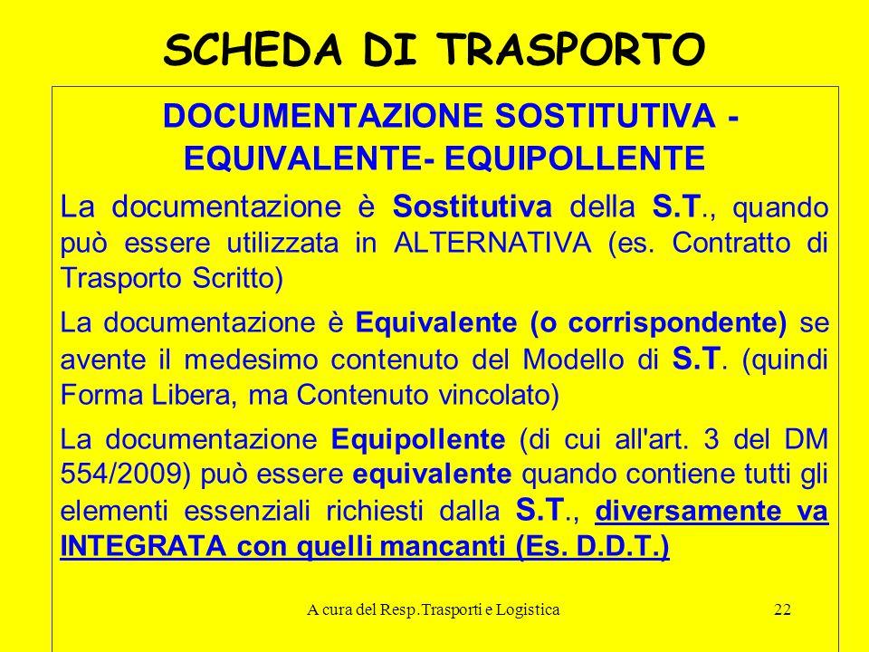 DOCUMENTAZIONE SOSTITUTIVA - EQUIVALENTE- EQUIPOLLENTE