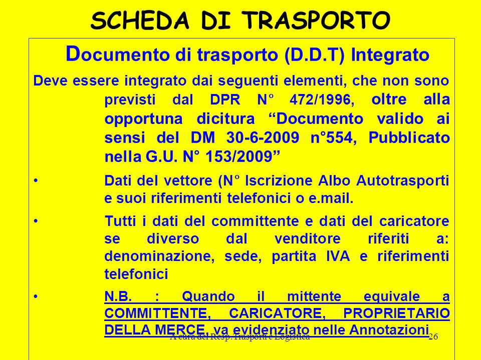 Documento di trasporto (D.D.T) Integrato