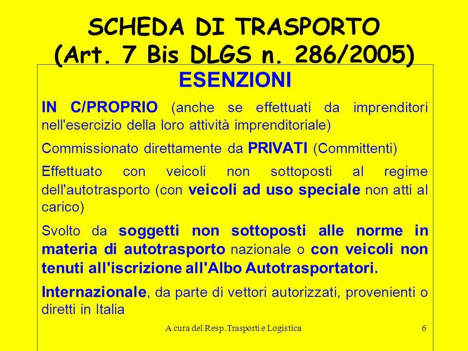 SCHEDA DI TRASPORTO (Art. 7 Bis DLGS n. 286/2005)