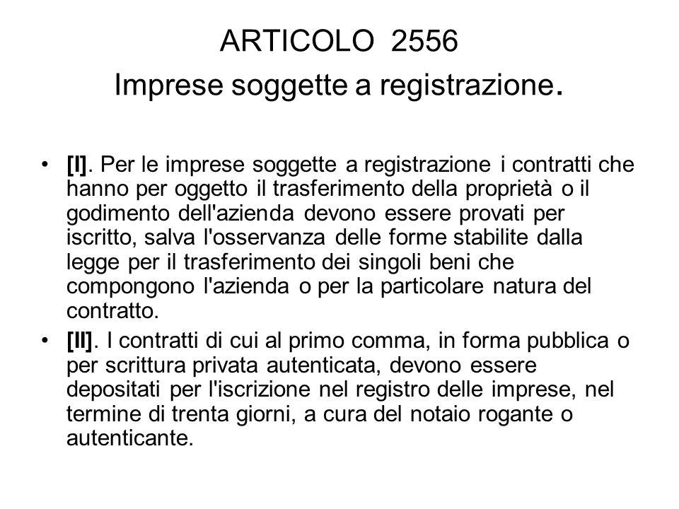 ARTICOLO 2556 Imprese soggette a registrazione.